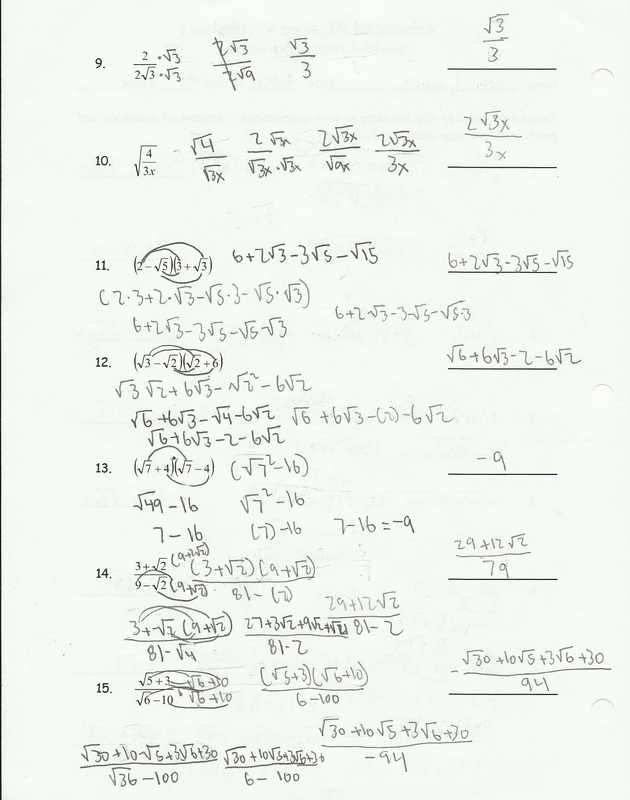 Worksheets Simplifying Radical Expressions Worksheet simplifying radical expressions worksheet helping times picture