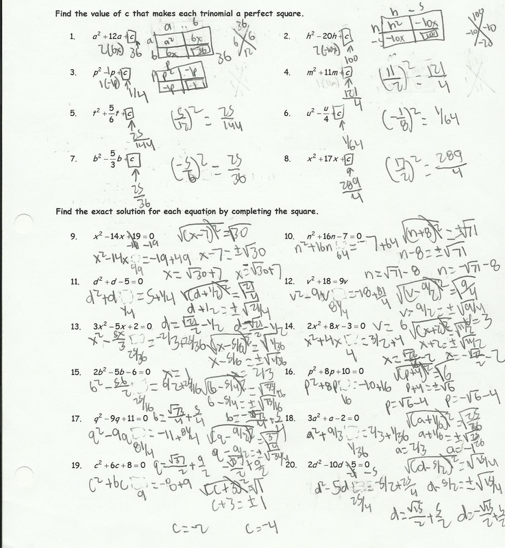 Printables Completing The Square Worksheet completing the square worksheet helping times picture
